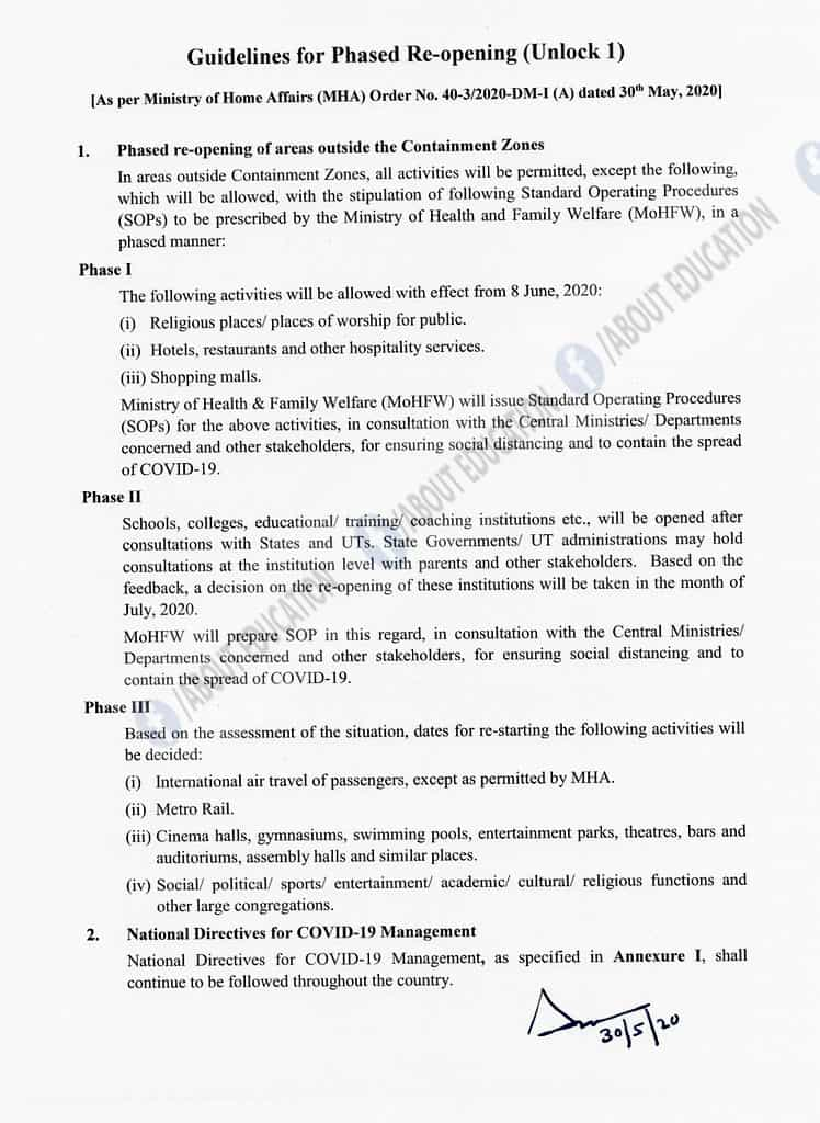 Lockdown 5.0 Guidelines in India