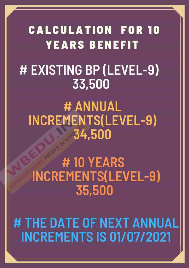 10 YEARS INCREMENTS BENEFIT