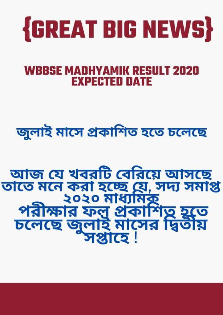 WBBSE Madhyamik Result 2020 Date