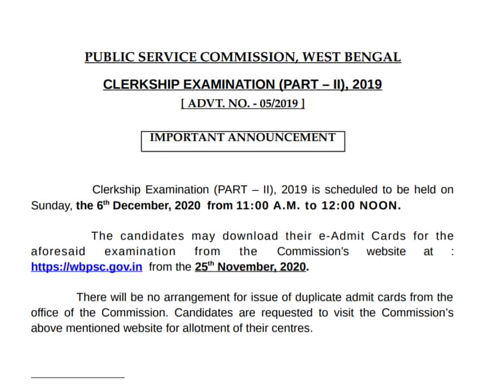 wbpsc_clerkship_mains_exam_admit_card_download